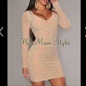 Rhinestone mesh nude hot Miami styles dress